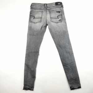 American Eagle Outfitters Jeans - Womens American Eagle Super Low Black Gray Jegging
